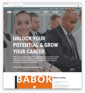 IIBA's new home page designed to attract new members.